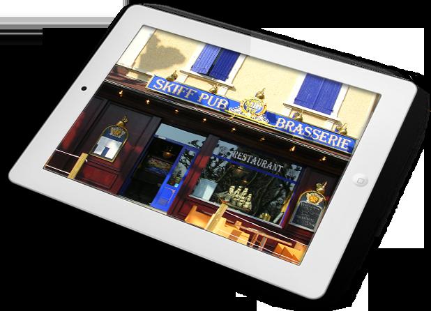 Ecran visuel façade restaurant jaune